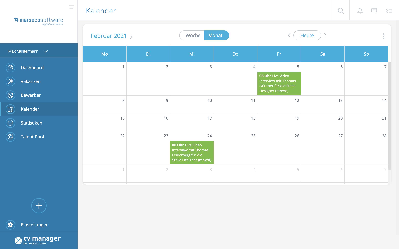 Marseco Solutions cvmanager - Kalender