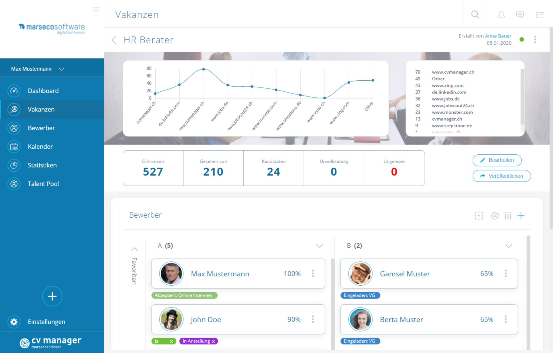 Marseco Solutions cvmanager - Vakanz Detail