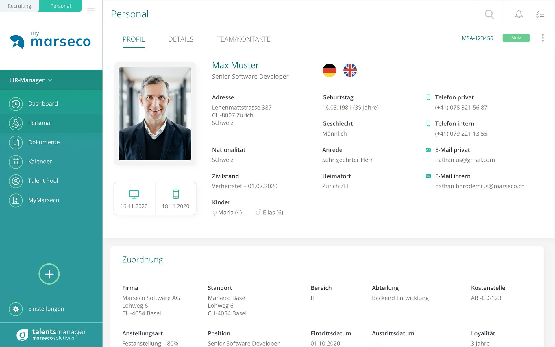 Marseco Solutions talentsmanager - Digitale Personalakte